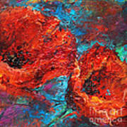 Impressionistic Red Poppies Poster