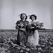 In A Field Of Flowers Vintage Photo Poster