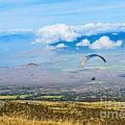 In Flight - Paragliders Taking Off High Over Maui. Poster