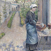 In The Garden At Pontoise A Young Woman Poster