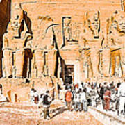 In The Presence Of Ramses II At Abu Simbel Poster by Mark E Tisdale