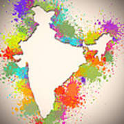 India Watercolor Map Painting Poster
