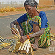 Indian Aged Woman Working Poster