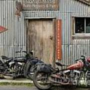 Indian Chout And Chief Bobber At The Old Okains Bay Garage Poster