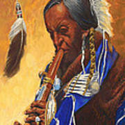 Indian Playing Flute Poster