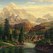 Indian Village Trapper Western Mountain Landscape Oil Painting - Native Americans Americana Stream Poster