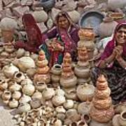 Indian Women Selling Pottery Poster