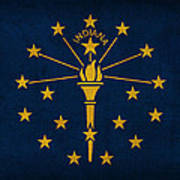 Indiana State Flag Art On Worn Canvas Poster