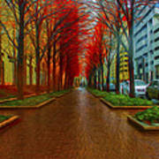 Indianapolis Autumn Trees Oil Poster by David Haskett