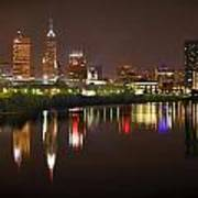Indianapolis Skyline At Night Indy Downtown Color Panorama Poster