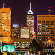 Indianapolis Skyline At Night Picture Poster by Paul Velgos