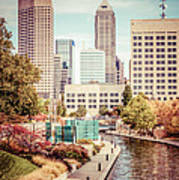 Indianapolis Skyline Old Retro Picture Poster