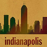 Indianapolis Skyline Watercolor On Parchment Poster