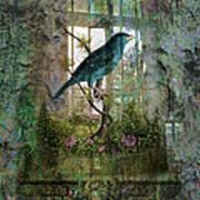 Indoor Garden With Bird Poster