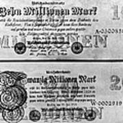 Inflated German Mark Bills Poster