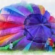 Inflating The Rainbow Hot Air Balloon Photo Art Poster