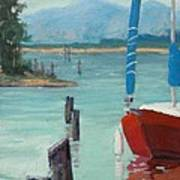 Inlet With Sailboat    Laconner Wa Poster