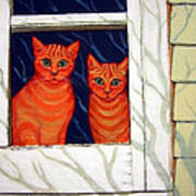 Orange Cats Looking Out Window Poster