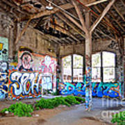 Inside The Old Train Roundhouse At Bayshore Near San Francisco And The Cow Palace II Poster
