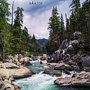 Inspirational Bible Scripture Emerald Flowing River Fine Art Original Photography Poster