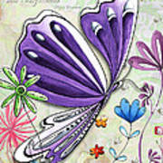 Inspirational Butterfly Flower Art Inspiring Quote Design By Megan Duncanson Poster