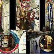 Interior Hatches Collage Russian Submarine Poster