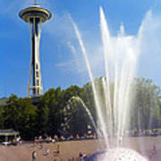 International Fountain And Space Needle Poster