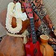 Ipu Heke And Red Ukulele With White Satin Lei Poster