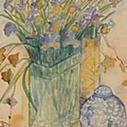 Irises With Chinese Pot Poster