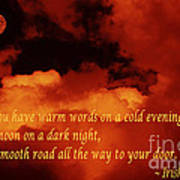 Irish Blessing On Orange Clouds And Full Moon Poster