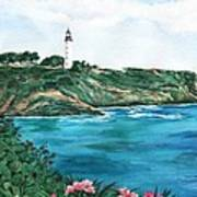 Island Light Watercolor Poster