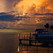 Tropical Island Storm Over Florida Keys Docks Poster