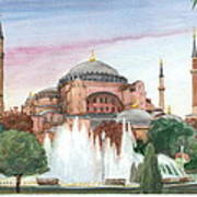 Istanbul Mosque Watercolor Painting Poster