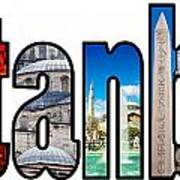 Istanbul Word Montage Poster