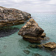 It Rocks 2 - Close To Son Bou Beach And San Tomas Beach Menorca Scupted Rocks And Turquoise Water Poster