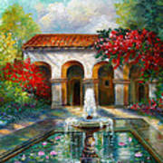 Italian Abbey Garden Scene With Fountain Poster