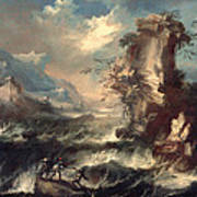 Italian Seascape With Rocks And Figures Poster by Marco Ricci