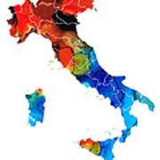 Italy - Italian Map By Sharon Cummings Poster by Sharon Cummings