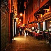 Bologna Italy Night  Scene Poster