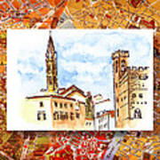 Italy Sketches Florence Towers Poster