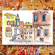 Italy Sketches Venice Piazza Poster