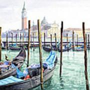 Italy Venice Gondolas Parked Poster
