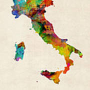 Italy Watercolor Map Italia Poster