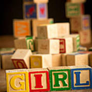 Its A Girl - Alphabet Blocks Poster