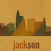 Jackson Mississippi City Skyline Watercolor On Parchment Poster