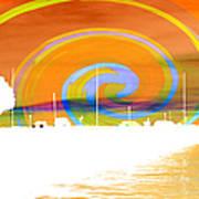 Jackson Street Pier - Orange Swirl Poster