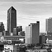 Jacksonville Skyline Morning Day Black And White Bw Panorama Florida Poster
