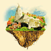 Jaipur City On Floating Land Vector Poster