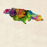 Jamaica Watercolor Map Poster