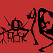 Jammin Jazz On Red Poster